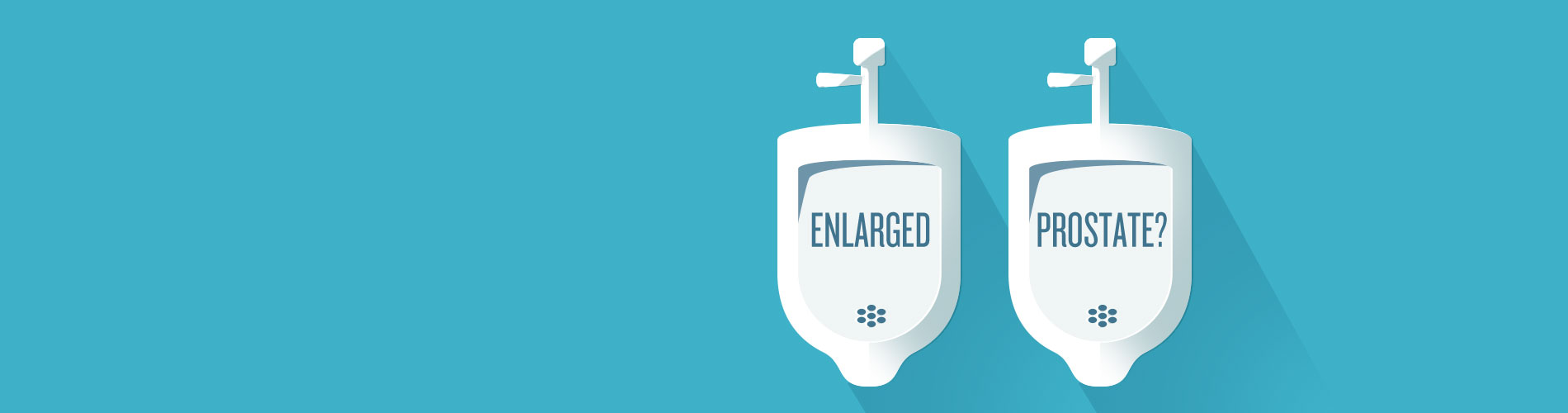 "Illustration of urinals with ""Enlarge Prostate?"" text."