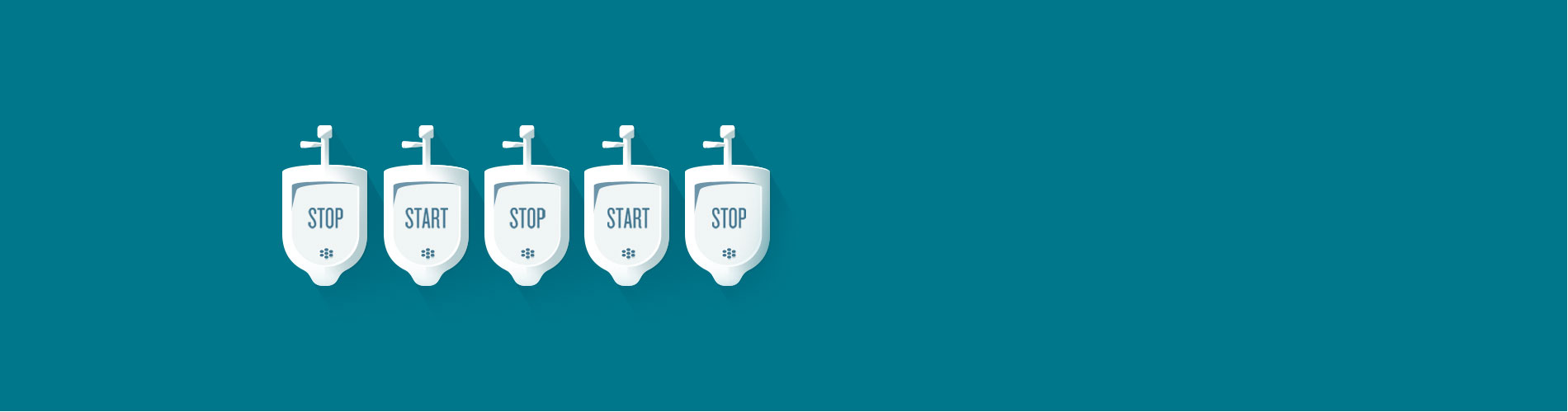 "Illustration of urinals with alternating text of ""Start"" and ""Stop"""