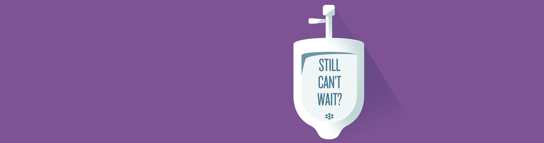 "Illustration of urinals with ""Still Can't Wait"" text."